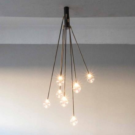Handgjord ljuskrona i järn med 7 lampor tillverkad i Italien - Ombro