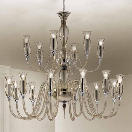 Handgjord ljuskrona med 18 lampor i Venedigs glas tillverkad i Italien - Vittoria