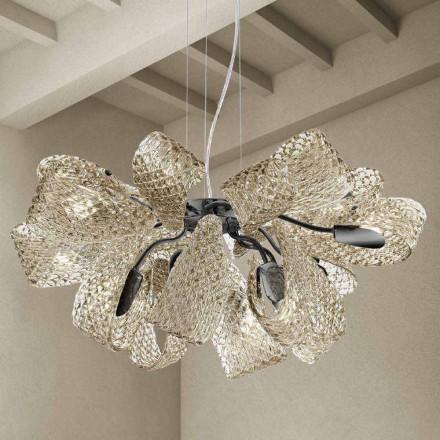 Modern ljuskrona med 12 lampor i Venedigglas, tillverkad i Italien - Diamonique