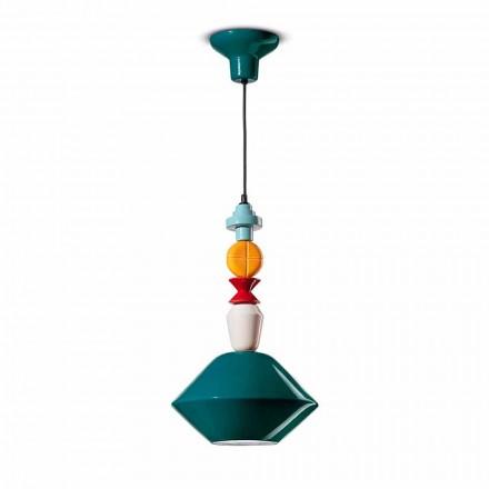 Grön eller gul keramisk upphängningslampa tillverkad i Italien - Ferroluce Lariat