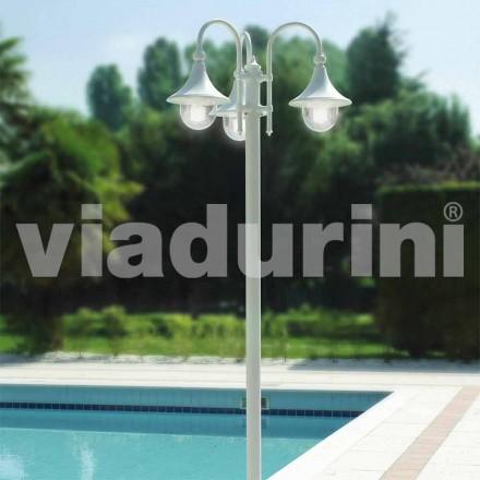 Utomhus tre-lampor lyktstolpe i vit aluminium, tillverkad Italien, Anusca