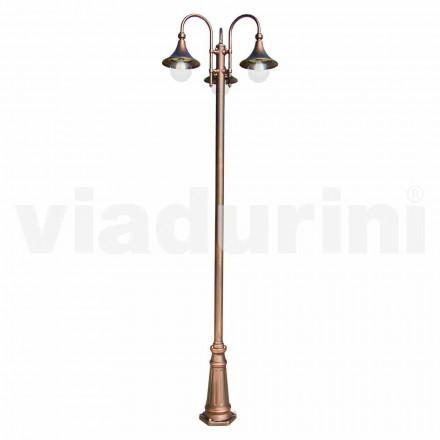 Utomhus tre-lampor lyktstolpe i aluminium, tillverkad i Italien, Anusca