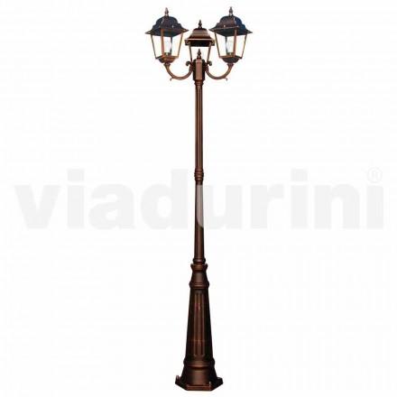 Klassisk utomhus lampor med tre lampor, producerad i Italien, Aquilina