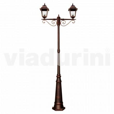 Utomhus klassisk lamppost tillverkad av aluminium, tillverkad i Italien, Aquilina