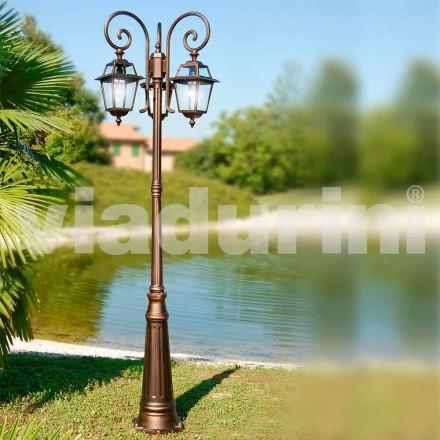 Trädgårdslampa med tre lampor tillverkad av aluminium, tillverkad i Italien, Kristel