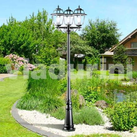 Klassisk trädgårdslampa med tre lampor tillverkad av aluminium, Kristel