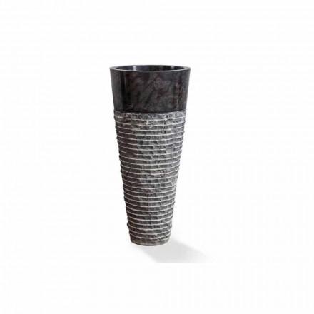 Kolumnhandfat av modern design i glansigt svart marmor - Merlo