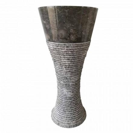 Pedestal handfat i mörkgrå natursten Fara, unikt stycke