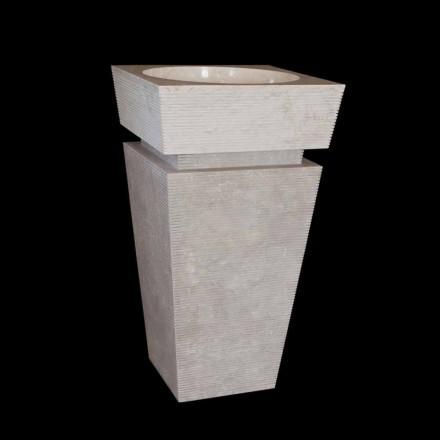 Design piedestal handfat i vitt Sire marmor, unikt stycke