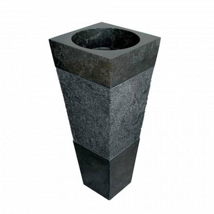 pyramid-kolonn handfat i svart natursten Nias