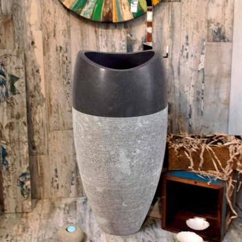 Handfat Column sfäriska sten Natural Black Gili