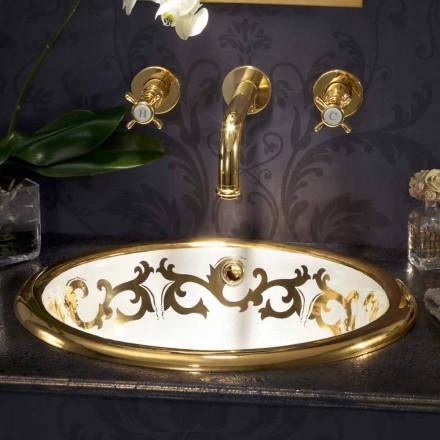 Inbyggd dekorerad handfat i eldlera och 24 k guld gjord i Italien, Otis