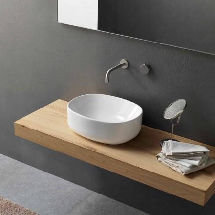 Modernt oval tvättställ för bänkskiva i vit keramik - Ventori2