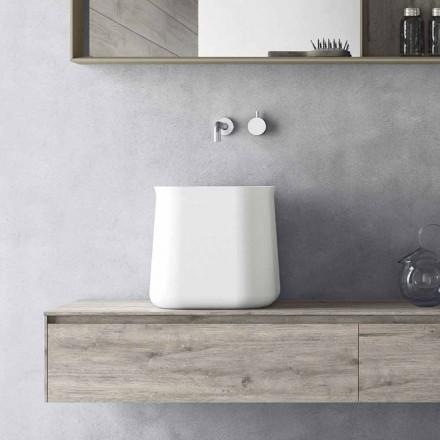 Tvättställsbänk med hög kvadratisk modern design i vitt harts - Tulyp