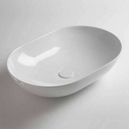 Oval bänkskål i färgad keramik tillverkad i Italien - kedja