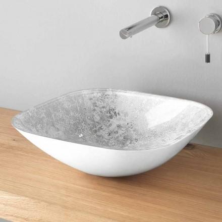 Fyrkantigt tvättställ för bänkskiva i glas med inredning av bladblad - Wandor