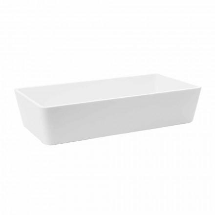 Rektangulär tvättställ i bänkskiva i solid yta vit yta - sidor
