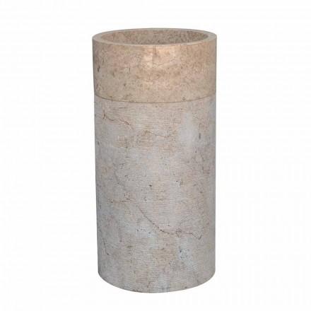 Fristående tvättställ i marmor elfenben Cylindrisk form - Cremino