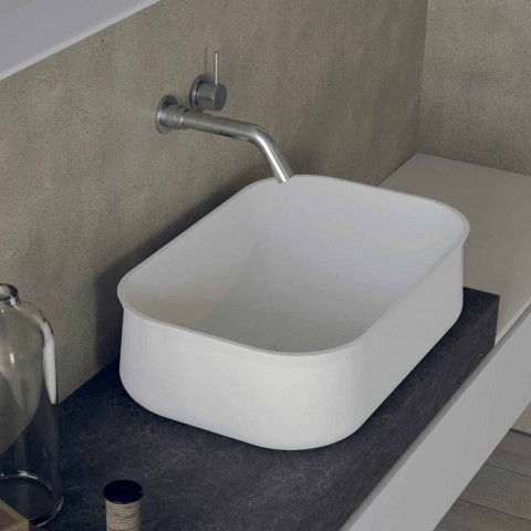 Bänkskiva i modern design rektangulär vit badrumshandfat - Tulyp2