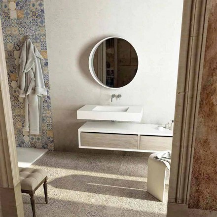 Topp med integrerad central handfat för badrum Gemona, tillverkad i Italien