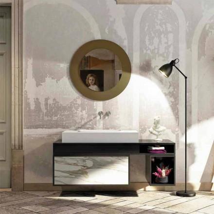 Badrumstopp med centralt integrerat handfat i Luxolid Voghera
