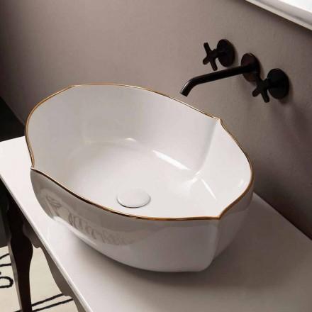 Countertop design keramiskt vitguld tvättställ gjord i Italien Oscar