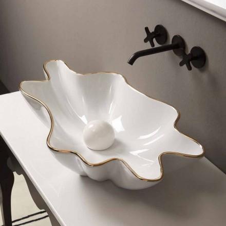 Countertop design keramiskt vitguld tvättställ gjord i Italien Rayan