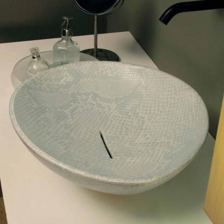 Vita keramiska snakeskin design diskbänk tvättställ gjorde Italien Djur