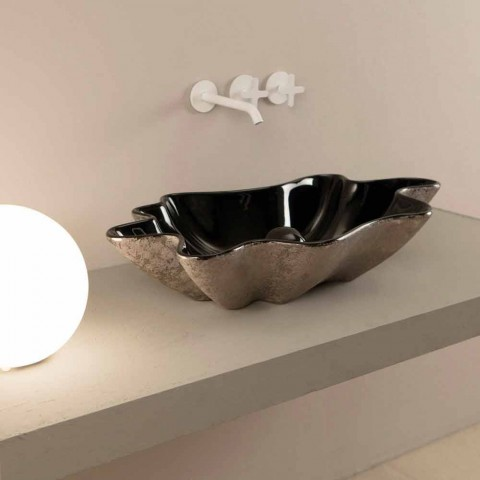 Bänkskivan i svart och silver keramisk design gjord i Italien Rayan