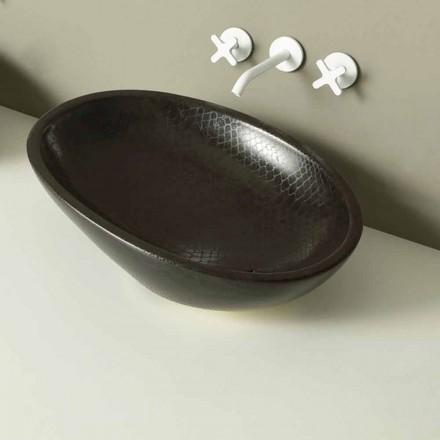 Countertop design keramisk svart python handfat gjord i Italien Glossy