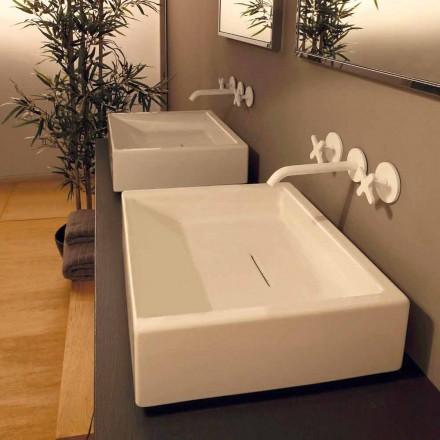 Design rektangulärt keramiskt handfat tillverkat i Italien Dalia