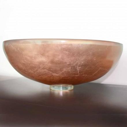 Design bänkskiva tvättställ i transparent harts och koppar - Salvatore