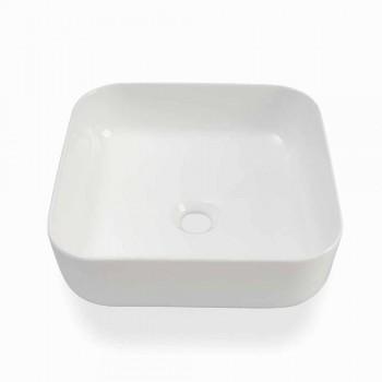 Bänkskål för modern design i vit keramik tillverkad i Italien - Åbo