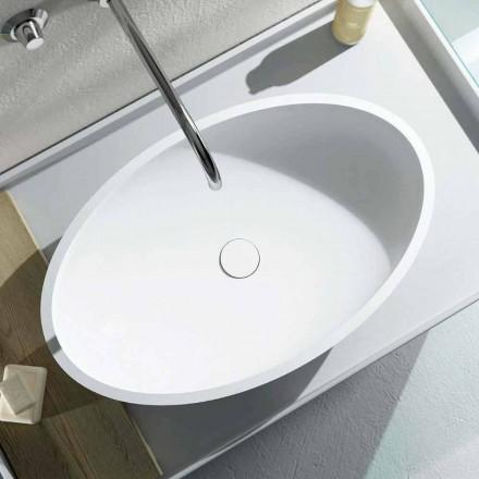 Oval tvättställ designad på bänkskivan producerad 100% i Italien, Frascati