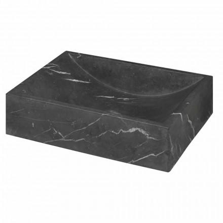 Squared Black Marquinia Marble Countertop tvättställ Tillverkad i Italien - Bernini