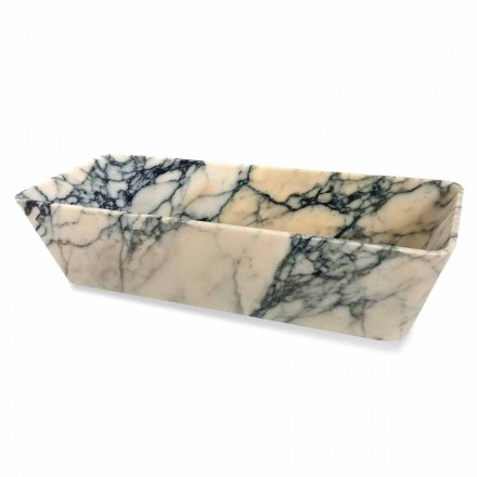 Tvättställ för bänkskiva i Paonazzo marmor fyrkantig design tillverkad i Italien - Karpa