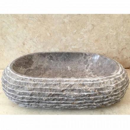 Ivy grå sten bänkskål handfat, unikt stycke