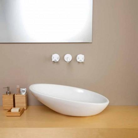 Design lutad keramisk handfat tillverkad i Italien Glossy