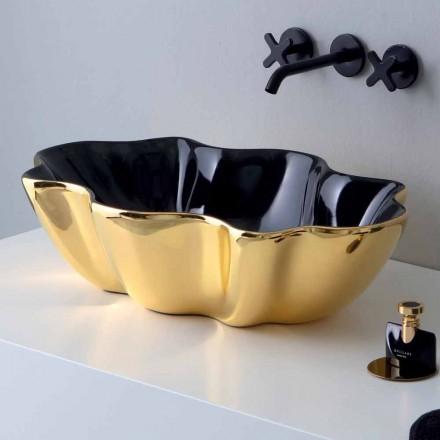 Modernt bänkskål i guld och svart keramik gjord i Italien Cube