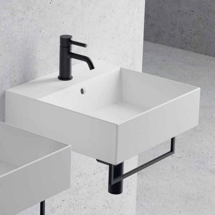 Bänkskiva eller vägghängt tvättställ i keramisk fyrkantig design - Malvina