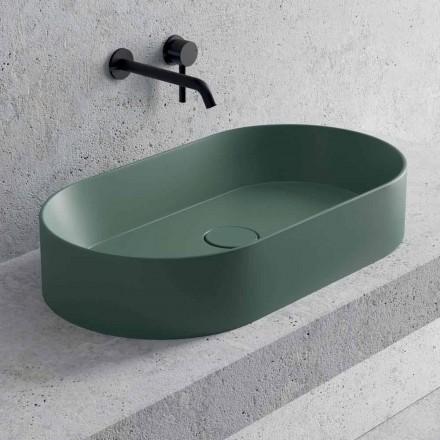 Oval tvättställ i bänkskiva i vit eller färgad keramik Tillverkad i Italien - Malvina