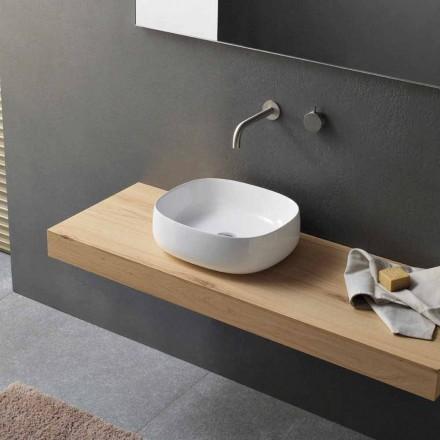 Tvättställ för bänkskiva i vit keramisk modern oval design - Tune3