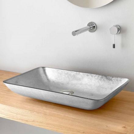 Rektangulär tvättställ i bänkskiva i guld, silver eller kopparbladglas - Wandor