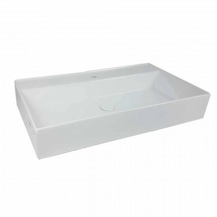 Rektangulär bänkskål Tvättställ L 80 cm i keramik Tillverkad i Italien - Piacione
