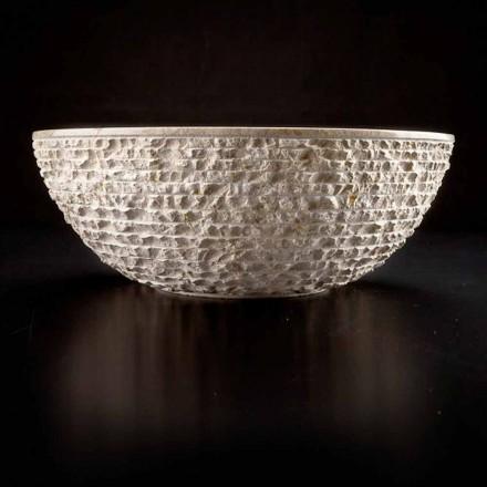 Runt handfat handfat i vit marmor - linne
