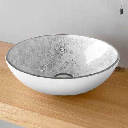 Runt tvättställ i bänkskivan i glasinredning av interna blad Tillverkad i Italien - Wandor