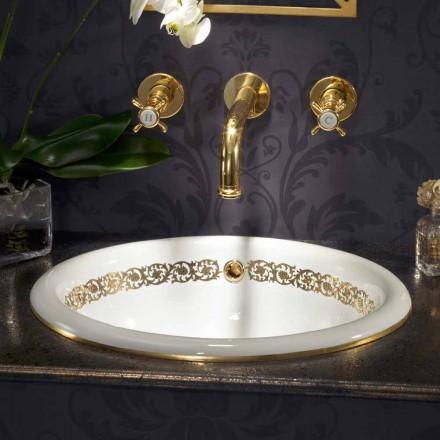 Inbyggt badrumssänk i eldlera och 24 k guld gjord i Italien, Otis