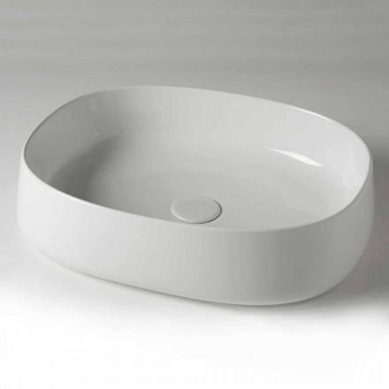 Oval bänkskål Tvättställ L 50 cm i keramik Tillverkad i Italien - Cordino