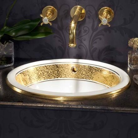 Cirkulär inbyggd handfat i eldlera och 24 k guld gjord i Italien, Otis