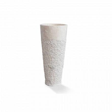 Modern kolumn fristående tvättställ i vit marmor - Merlo